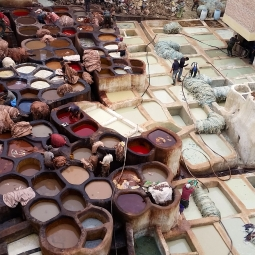 Dyeing mills, Fez, Morocco