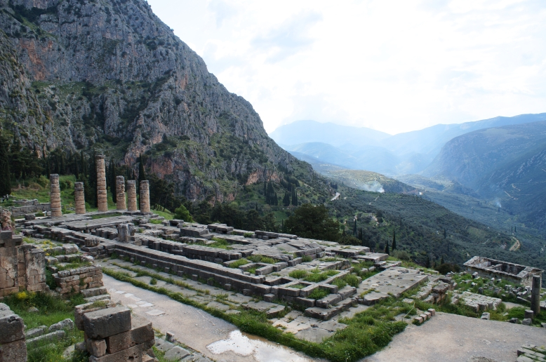 What remains of the Temple of Apollo, Delphi.