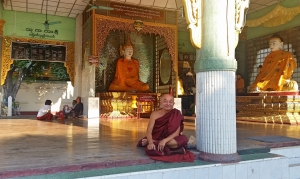 A monk at the Shwedagon Pagoda.
