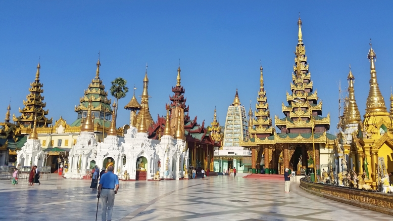 The Shwedagon Pagoda complex.